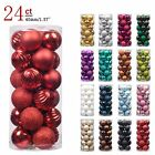24Pcs Christmas Ball Ornaments For Home Decor Xmas Tree Hanging Decoration Red