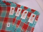 NEW Fiesta Turquoise Poppy Persimmon 4 Placemats Set Woven Plaid Fringe Mats