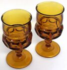 Amber Indiana Glass Kings Crown Thumbprint Wine Goblet Water (2) 5 3/4