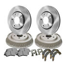 Front&Rear Brake Rotor Metallic Pad Drum Shoe 6PCS For 1987-1989 Jeep Wrangler