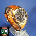 GUESS World Time Blue & Rose Gold-Tone Men's Watch U0500G1 with Fossil Brown Lea