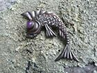 Sterling Fish Koi Vintage Pin Signed Silver JP Mexico 925 Amethyst Mexican
