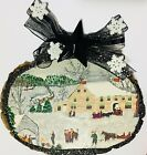 Christmas Primitive Town House Homes Wood Slice Glittered Ornament Greeting Card