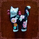 Vintage Hand Painted Ceramic Porcelain Happy Cat Pin Brooch