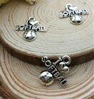 Mixed Set of 8 New SOFTBALL Silver Charms Metal Alloy TWO EACH shown Free Ship