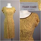 Vintage 50s Frank Starr Designer Gold Sequin Short Cocktail Party Dress Fitted S