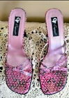 Womens Sandals by GF Glamour Originals Pink and Black Sequins Open Toe Size 9