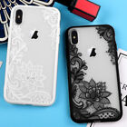 iPhone X XS 10S Hard TPU Gummy Rubber Skin Case Cover Henna Lace Flowers