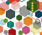 Hexagon Geometric Bold Bright Fabric Printed by Spoonflower BTY