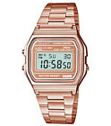 Sport Rose Gold Metal Band Watch with LCD Display