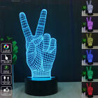 3D Victory sign Night Light Decor Bulbing Table LED Lamp 7color Gadget Xmax Gift