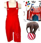 VIntage Unisex Red Bib Overalls W Embroidered Elephant Snap Legs