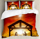Religious Queen Size Duvet Cover Set Baby Messiah Nativity with 2 Pillow Shams