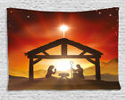 Religious Tapestry Baby Messiah Nativity Print Wall Hanging Decor 80Wx60L Inches