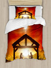 Religious Twin Size Duvet Cover Set Baby Messiah Nativity with 1 Pillow Sham