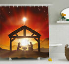 Religious Shower Curtain Baby Messiah Nativity Print for Bathroom 84 Extralong