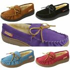 Alpine Swiss Sabine Womens Suede Shearling Moccasin Slippers Slip On House Shoes
