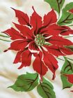 Vintage Christmas Tablecloth Poinsettias Candles Holly 66 x 57 NICE
