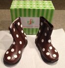 Puddle Jumpers Boots NEW With Box Size 6 Toddler Chocolate Brown With Polka Dots