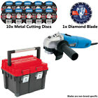 Draper 51747 500W 230V 115mm Angle Grinder + 10 Metal & 1 Diamond Blade + Sealey