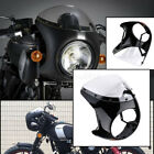 7'' Motorcycle Fairing Screen Windshield Gloss Black & Mount Kits Universal Fit