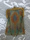 Whiting and Davis vintage mesh purse w/small chain handle colorful design
