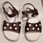Puddle Jumpers Sandals Size 3 Youth Brown With White Polka Dots