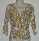 Daisy Fuentes Brown Yellow White 3 4 Sleeve Pull Over Top Bust 34 Length 22 1 2