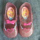 Disney Jellies Girl Shoes Pink Sparkle Princess Closed Toe Flats Mary Janes