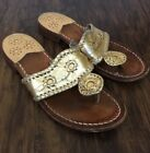 Jack Rogers Womens Gold Leathers Sandals Size 6M