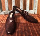 Brighton Abby Woven Leather Mules Shoes Silver Concho Sz 7 Beautiful