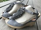 Anthropologie Gaimo Espadrilles Fringe Gray Wedge Sandals Suede Leather 36 55 6