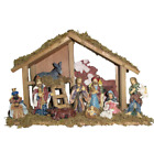 Nativity Set 15 Inch Wooden Stable with 10 piece Resin Figures Christmas Decor