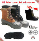 LM Mens Black Brown Winter Snow Boots Shoes Work Boots Leather Waterproof 2004