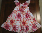 Old Navy Girls Pink Orange Watercolor Floral Cotton Lined Tulle Dress 3T EUC
