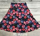 Lularoe Azure Skirt Size XL Black Blue Pink and Green Multi Colored Floral