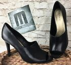 Walden Tahari Toe Heel Womens Leather Open Peep Black 75 M Size High Shoes Pump