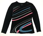 Tek Gear Womens Top Sz Small Black Blue Pink Athletic Workout Long Sleeve Shirt