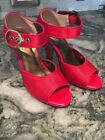 Cinderella of Boston Holiday Red Satin Women shoes Heels size 4 W