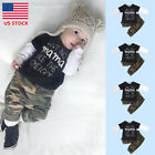 2PCS Kids Baby Boys Girl Outfits Clothes T shirt Tops +Camouflage Long Pants Set