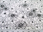 Fabric Quilting Cotton Keepsake Calico Poppy Stitch White and Black Floral T13
