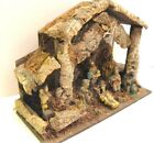 Antique Vintage Rustic Nativity Scene Made in Italy Wood Stable w 12 figurines
