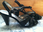 NEW Anne Klein Patterned Leather Dressy High Heels Black Sandals 65