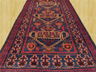Authentic Hand Knotted Semi Antique Afghan Balouch Wool Rug 7x3 Ft (3549)