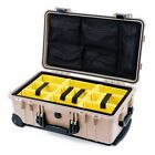 Tan & Black Pelican 1510 With Yellow Padded Divider & 1519 lid organizer.