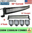 50Inch Curved LED Light Bar + 22in + 4 CREE Pods Offroad SUV ATV Ford Jeep 52