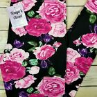 PLUS Pink Rose Floral Leggings Pink Purple Green Buttery Soft Curvy 10 18 TC