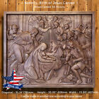 Nativity Birth of Jesus Carved Wood Icon painting picture decor Orthodox Artwork