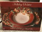 Fitz and Floyd Holiday Solstice Serving Platter & Large Bowl Set red gold green