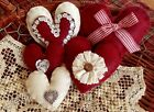 Five Handcrafted Valentine Heart Ornie's Bowl Filler's